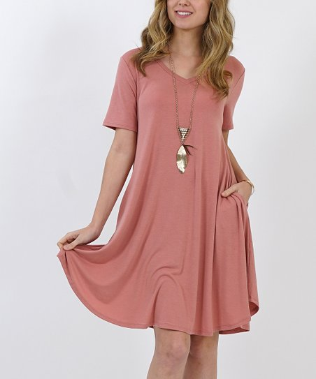 8c9f16e79e2 love this product Dusty Rose V-Neck Short-Sleeve Curved-Hem Two-Pocket  Tunic Dress - Women