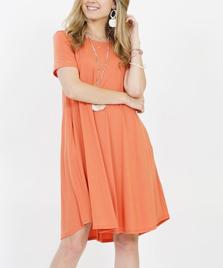 c1acbfcc9642 love this product Ash Copper Crewneck Short-Sleeve Curved-Hem Pocket Tunic  Dress - Women