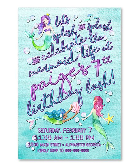 10 Ct Mermaid Birthday Invitation Personalized Card Set