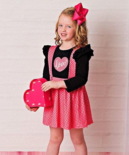 25b8e0500e4c3 love this product Red & Black 'Love' Suspender Dress - Toddler & Girls
