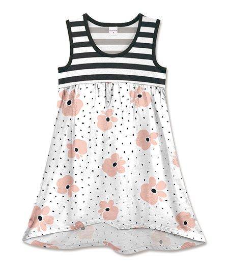 66585d73ce80e Penelope Plumm Black   White Stripe Floral Sleeveless Babydoll Dress ...