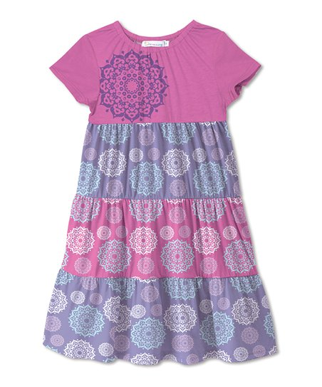 1b658d675d love this product Pink   Lavender Mandala Floral Tiered Swing Dress -  Toddler   Girls