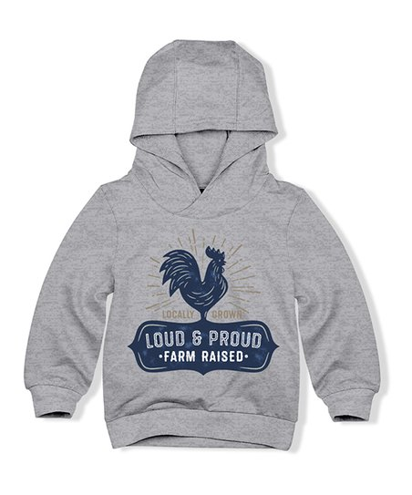 9a6ad1c2a41a HighFive Crew Gray Heather Loud and Proud Rooster Hoodie - Boys | Zulily