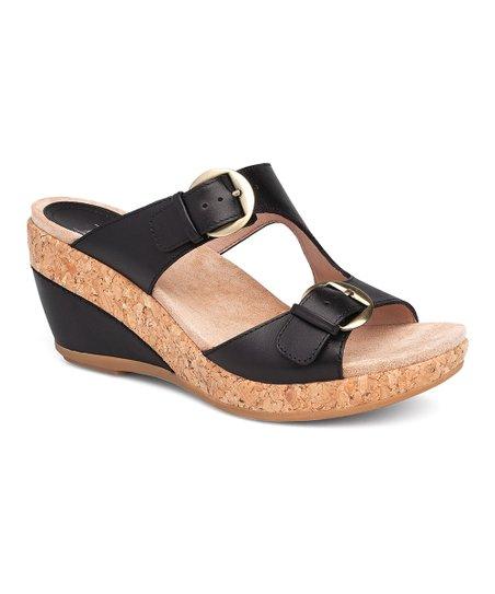 26dcbe2458e Dansko Black Carla Full-Grain Leather Wedge Sandal - Women