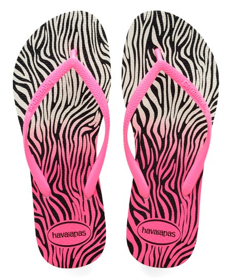 35829693028b0c love this product White   Shocking Pink Zebra Slim Flip Flop - Women