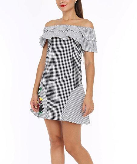 55dd6e6c8357 love this product Black   White Gingham Ruffle Off-Shoulder Dress - Women