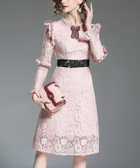 64cd7bffc4917 love this product Pink Lace Ruffle-Accent A-Line Dress - Women