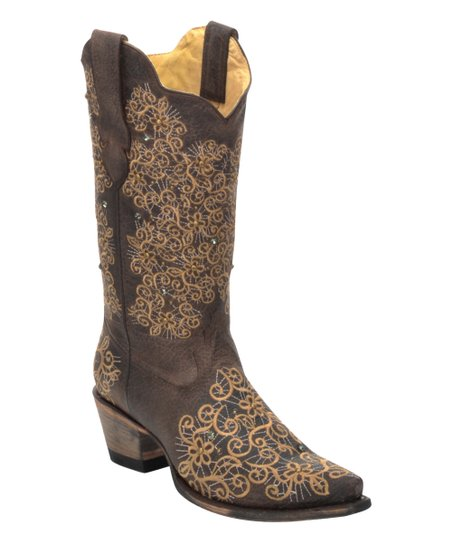 3b2a461011d Brown Stud Embroidered Swirl Leather Cowboy Boot - Women
