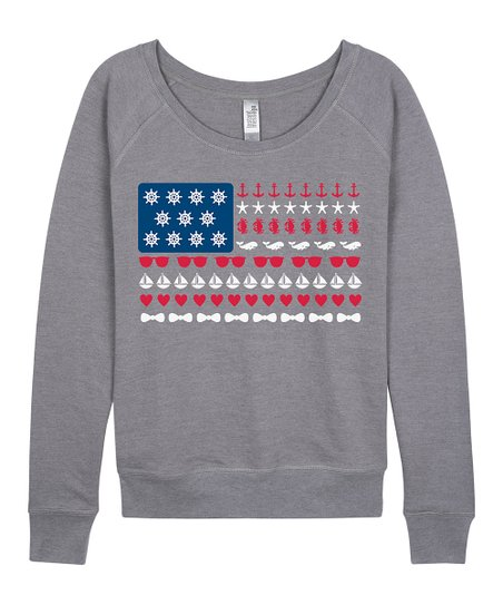d687a289b2 Instant Message Womens Heather Gray Beach US Flag Slouchy Pullover ...