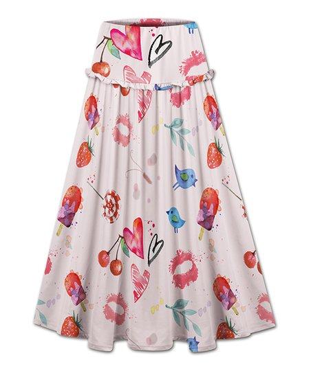 Udear Light Pink Lips Hearts Ruffle Accent Maxi Skirt Women