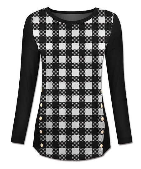 e266f593 love this product Black & White Buffalo Check Long-Sleeve Top - Women