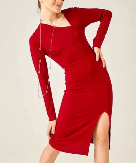 Intertrade Claret Red Front-Slit Bodycon Dress - Women  60a5f54b6