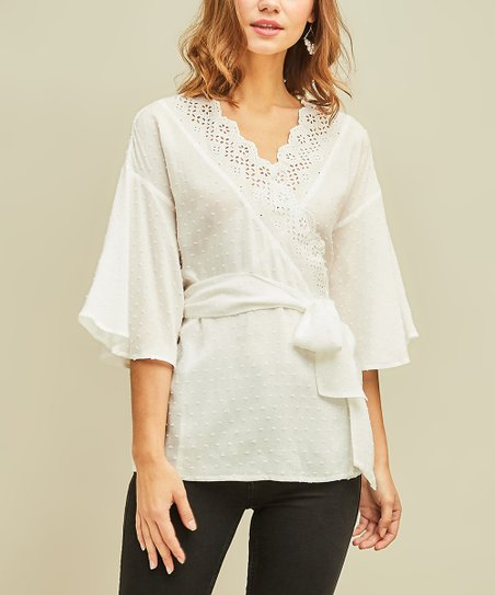 ea42df79b33179 love this product Off-White Swiss-Dot Wrap Top - Women