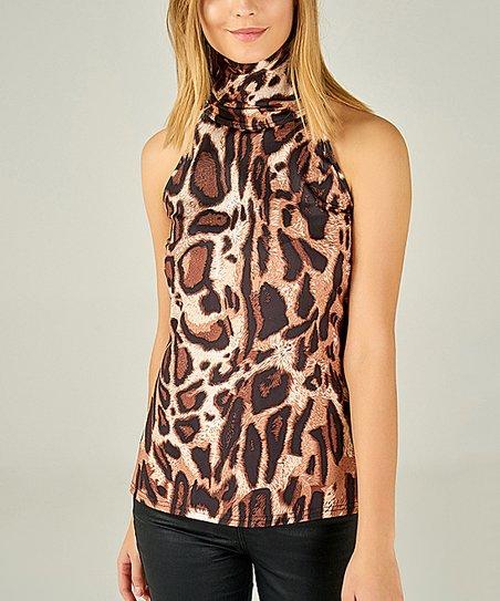 3cec3e03ecad9 AQE Fashion Black   Brown Leopard Sleeveless Turtleneck - Women