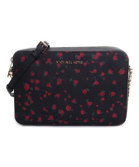 520301cf0e97 Michael Kors Black   Red Floral Jet Set Item Large Crossbody Bag ...