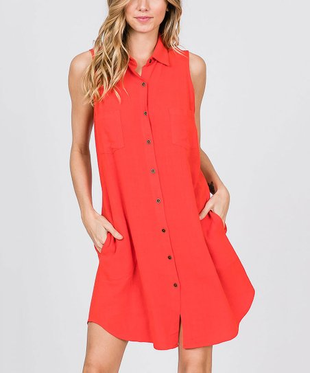 Tomato Pocket Linen Blend Sleeveless Dress   Women by Zulily