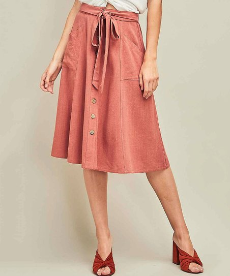 05d1089f2228 love this product Marsala Tie-Waist Button-Up Linen A-Line Skirt - Women