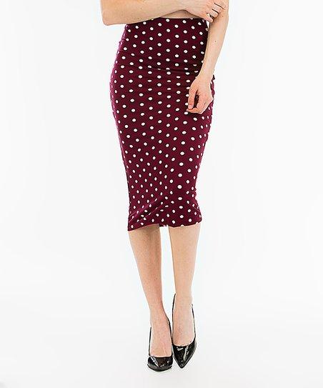 a2ec11abd6ca SBS Fashion Burgundy Polka Dot Pencil Skirt - Women | Zulily