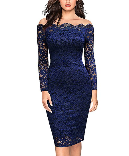 8a21b44e97ce love this product Navy Blue Lace Off-Shoulder Dress - Women