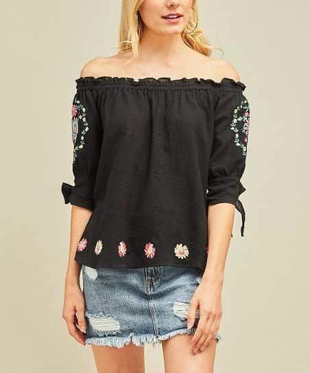 0db5cdf2c1d6c love this product Black Floral Embroidery Detail Off-Shoulder Top - Women