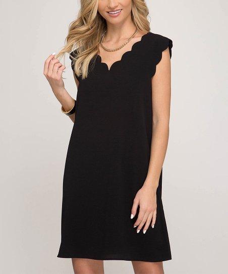 Black Scalloped V Neck Dress Women Zulily