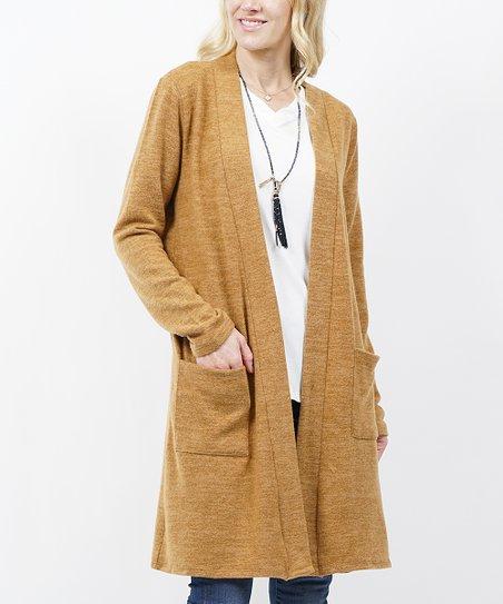 Coffee Marled Hacci Pocket Open Cardigan   Women & Plus by Zulily