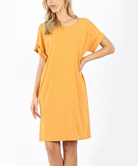 189c04d068 love this product Ash Mustard Round Neck Fold-Over Two-Pocket T-Shirt Dress  - Women
