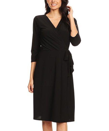 Jeyrey Black Wrap Dress Women Plus Zulily