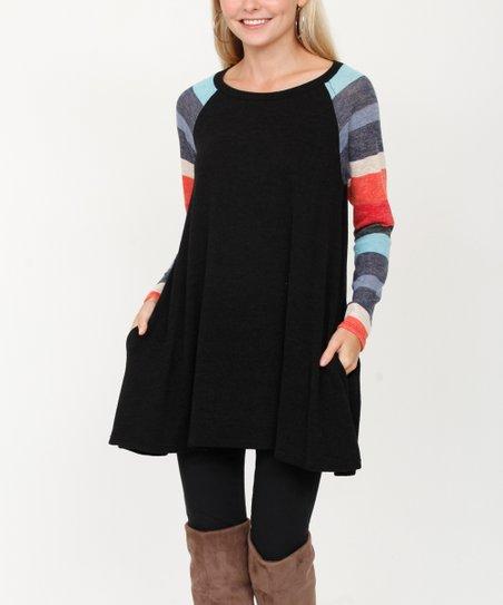 dc508f7c073 egs by éloges Mint & Black Stripe Side-Pocket Tunic - Women | Zulily