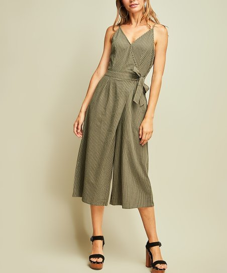 9406b073ce6 love this product Olive Pinstripe Side-Tie Surplice Gaucho Jumpsuit - Women