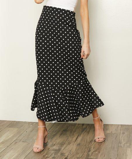 ea41f1fd8d52 Milly Penzance Black Polka Dot Ruffle-Hem Midi Skirt | Zulily