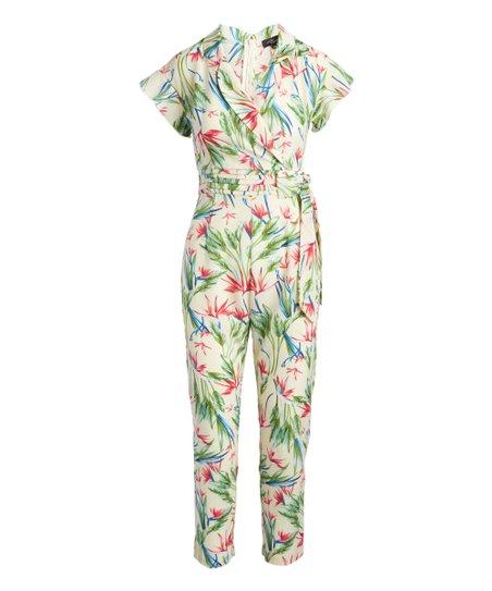 0cc227ab75f love this product White Floral Wrap Jumpsuit - Women