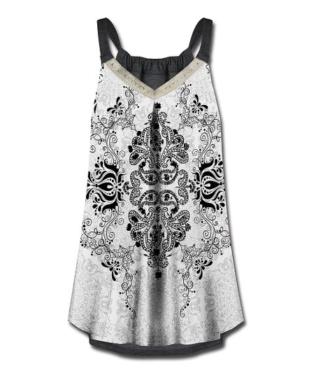 d2be3b09d8 love this product White & Black Floral Leaves V-Neck Sleeveless Top - Women  & Plus