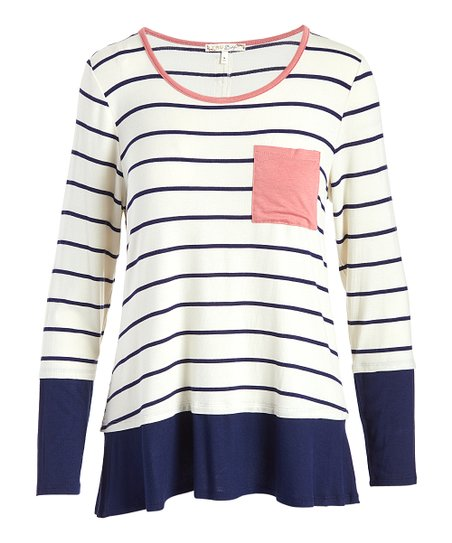 3f113f30b42d love this product Ivory & Navy Stripe Contrast-Pocket Button-Accent Tee -  Women