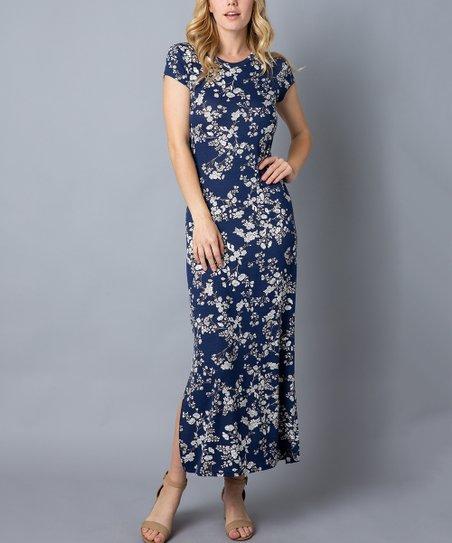 65f3e86706ff Acting Pro Navy Floral Side-Slit Maxi Dress - Women & Plus | Zulily