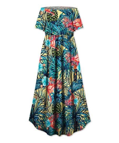 fb69756d244a love this product Blue   Yellow Floral Off-Shoulder Dress - Women   Plus