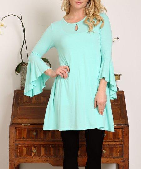 c07a77d31dbf6 Shop Basic USA Mint Keyhole Bell-Sleeve Tunic Dress - Women | Zulily