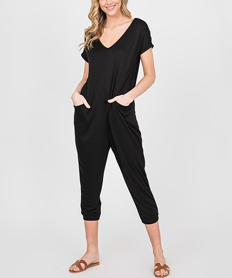 aa14b5f508ac love this product Black Pocket V-Neck Jumpsuit