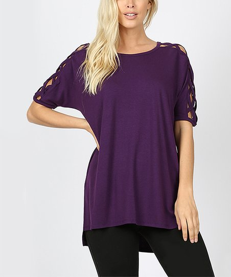 6fb6f39a4f1 love this product Dark Purple Scoop Neck Crisscross-Cutout Short Sleeve  Hi-Low Top - Women
