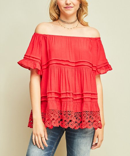 9e14523022d29 love this product Red Lace-Detail Off-Shoulder Top - Women