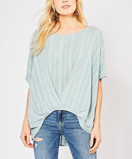 d37f6eadff50 love this product Seafoam Textured Stripe Boat Neck Dolman Top - Women