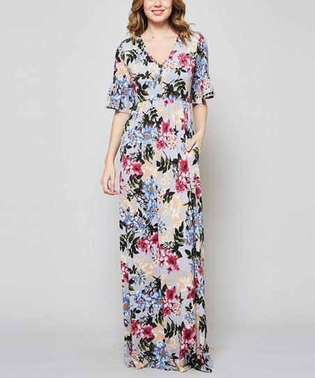 7aa5d701119 love this product Gray Floral Bell-Sleeve Button-Front Maxi Dress - Women