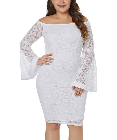 e071cbac9701 love this product White Lace Bell-Sleeve Off-Shoulder Dress
