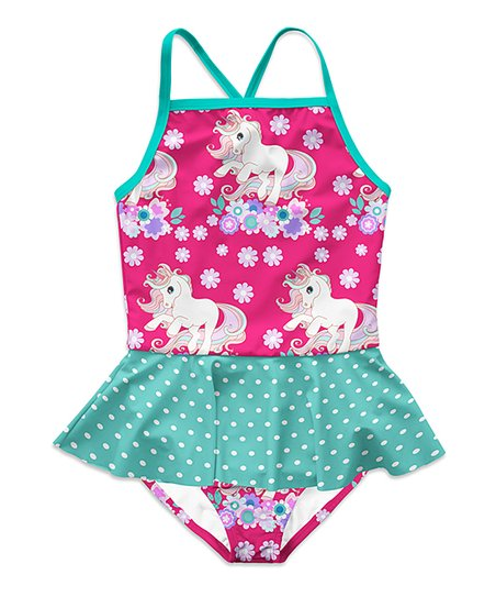 c9ea69867e93a love this product Pink   Turquoise Unicorn Floral Skirted One-Piece -  Toddler   Girls