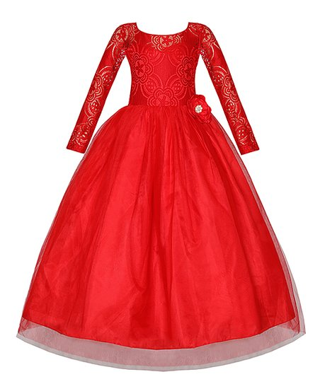 081393aa174 Mia Belle Girls Holiday Red Lace-Bodice Long-Sleeve Maxi Dress ...