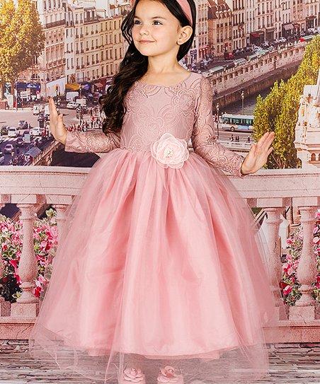 9b9d2891fba Mia Belle Girls Dusty Pink Lace Long-Sleeve Maxi Dress - Toddler ...