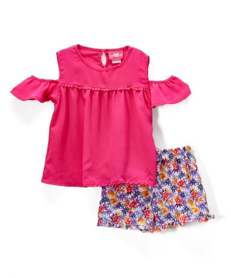 328f07617a339f love this product Fuchsia Ruffle Cold-Shoulder Top   Purple Floral Shorts -  Infant