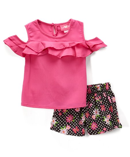 7ec56affe0dfc love this product Fuchsia Ruffle Cold-Shoulder Top   Black Floral Shorts -  Infant