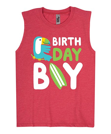 aff2139b love this product Heather Red 'Birthday Boy' Muscle Tank - Toddler & Boys