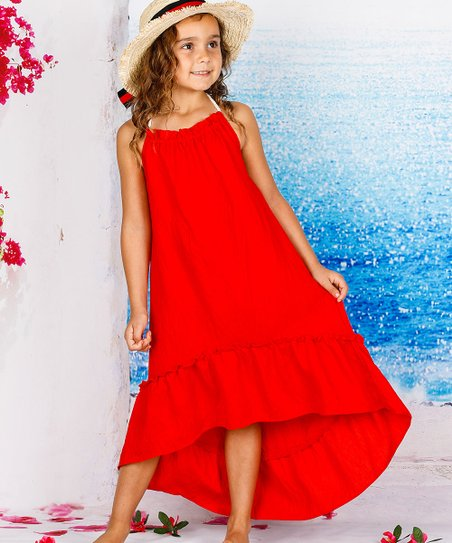 fb4973b68ad love this product Red Ruffle Hi-Low Maxi Dress - Girls